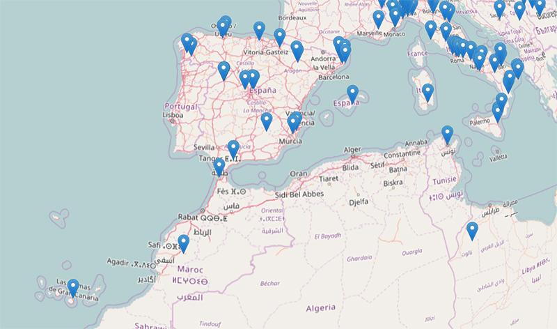 Mapa de actividades del Día Internacional de Observación de la Luna en España.