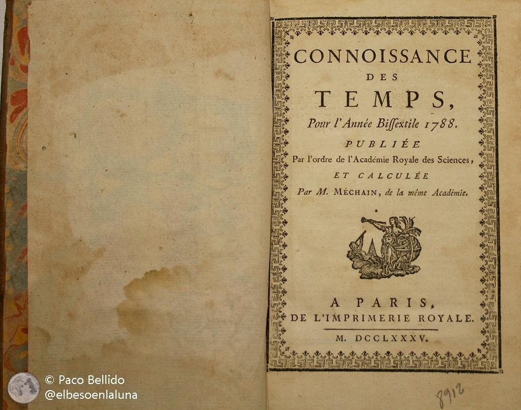 Un ejemplar de Connaissance des Temps correspondiente a 1788 que se conserva en la Biblioteca Manuel Ruiz Luque de Montilla (Córdoba). Foto: © Paco Bellido