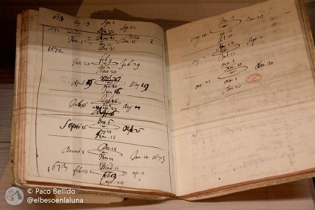 Cuaderno de observación de Gian Domenico Cassini. Foto: © Paco Bellido