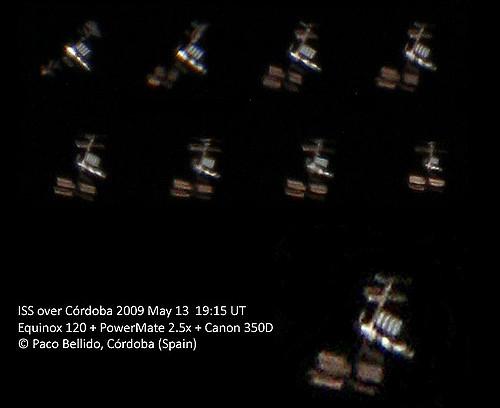 La ISS captada con una cámara réflex adaptada a un telescopio refractor y seguimiento manual. Foto: © Paco Bellido