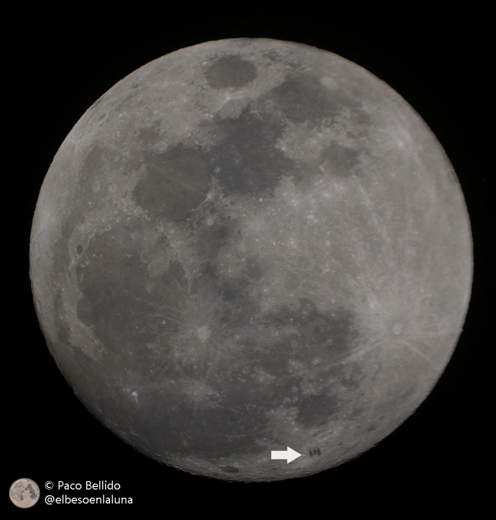 ISS cruzando la Luna. Canon EOS 550D + SkyWatcher ED80. Foto: © Paco Bellido