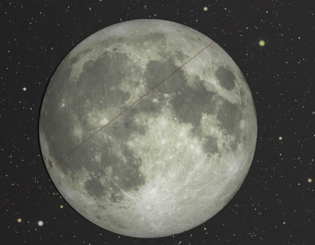 Paso de la ISS por el disco lunar el 31 de enero de 2018 visto desde Córdoba. Crédito: CalSky.com