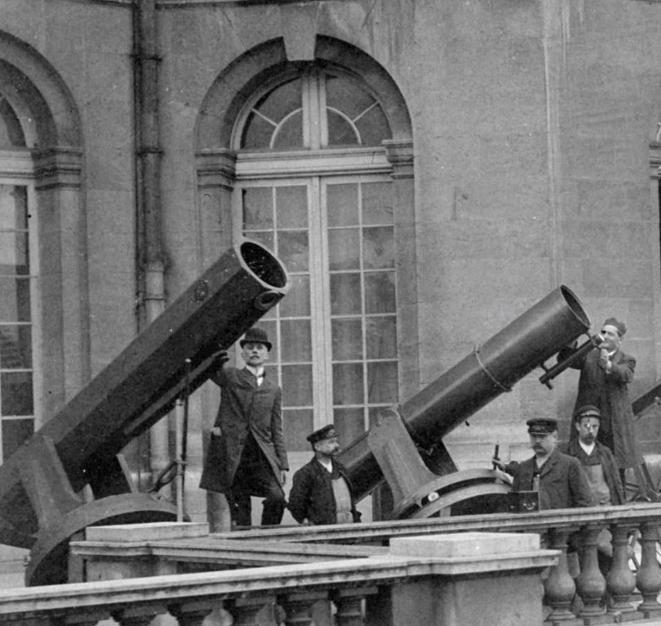 Una observación con los telescopios de Foucault desde la terraza del observatorio. Crédito: Observatoire de Paris