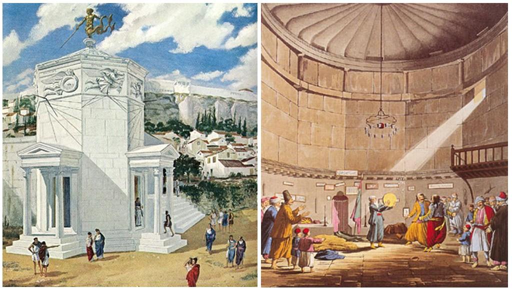 Ilustración del aspecto original de la torre en época helénica y en época otomana. Robert C. Magis, © National Geographic Society