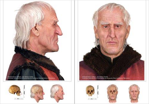 Reconstrucción forense del rostro de Copérnico a partir de su cráneo.
