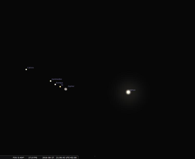 Conjunción de Venus y Júpiter.