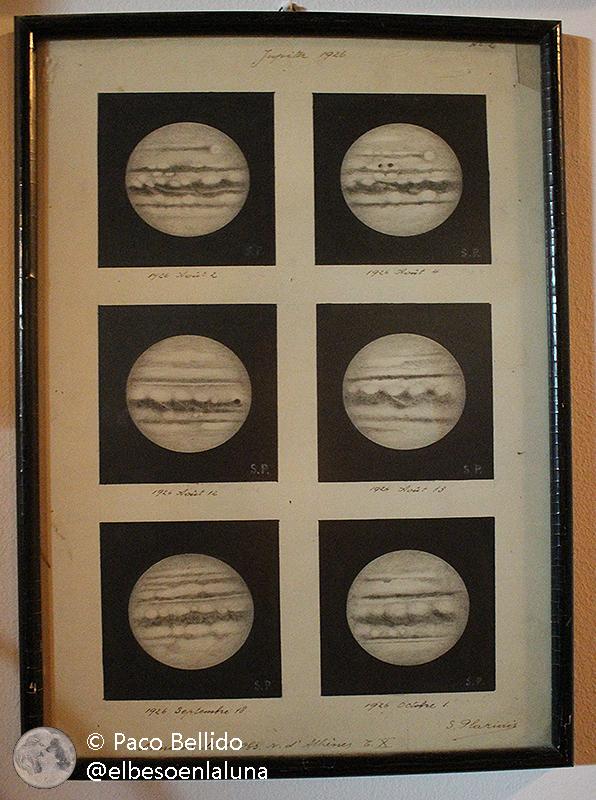 Dibujos del planeta Júpiter realizados en 1926 con el refractor Dorides. Foto: © Lola Vázquez