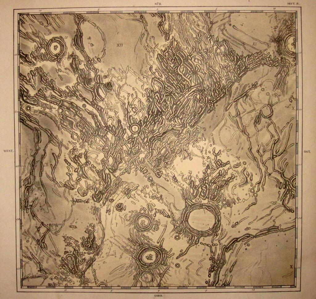 Detalle del mapa lunar dibujado por Schmidt