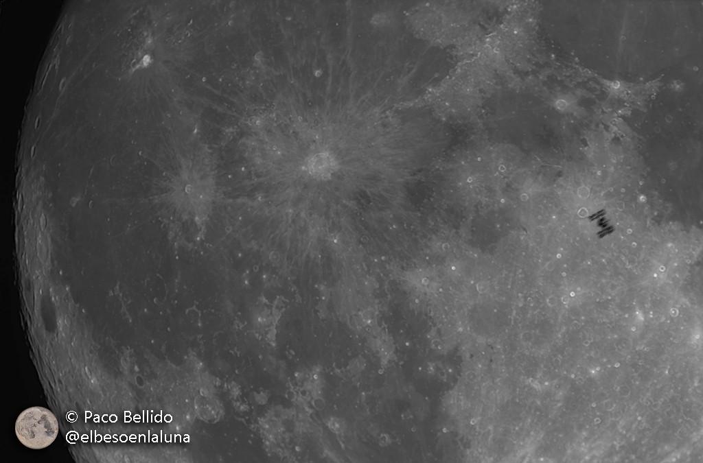 ISS cruzando la Luna. ZWO ASI 174MM + Maksutov 127 mm. Foto: © Paco Bellido