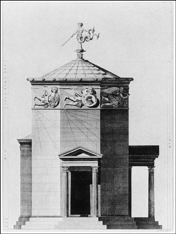 Grabado del aspecto original de la Torre de los vientos según Stuart y Revett, The Antiquities of Athens (Vol.I), 1762. Crédito: Wikimedia Commons