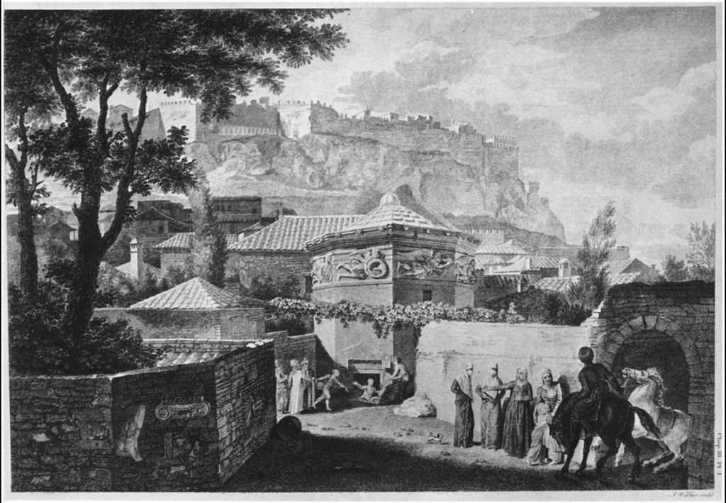 Vista general de la Torre de los vientos según Stuart y Revett. The Antiquities of Athens, 1762. Crédito: Wikimedia Commons