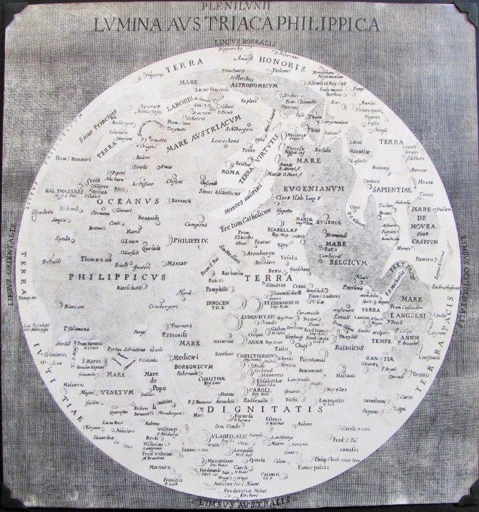 Copia de la carta lunar de Langrenus que se conserva en Estrasburgo.